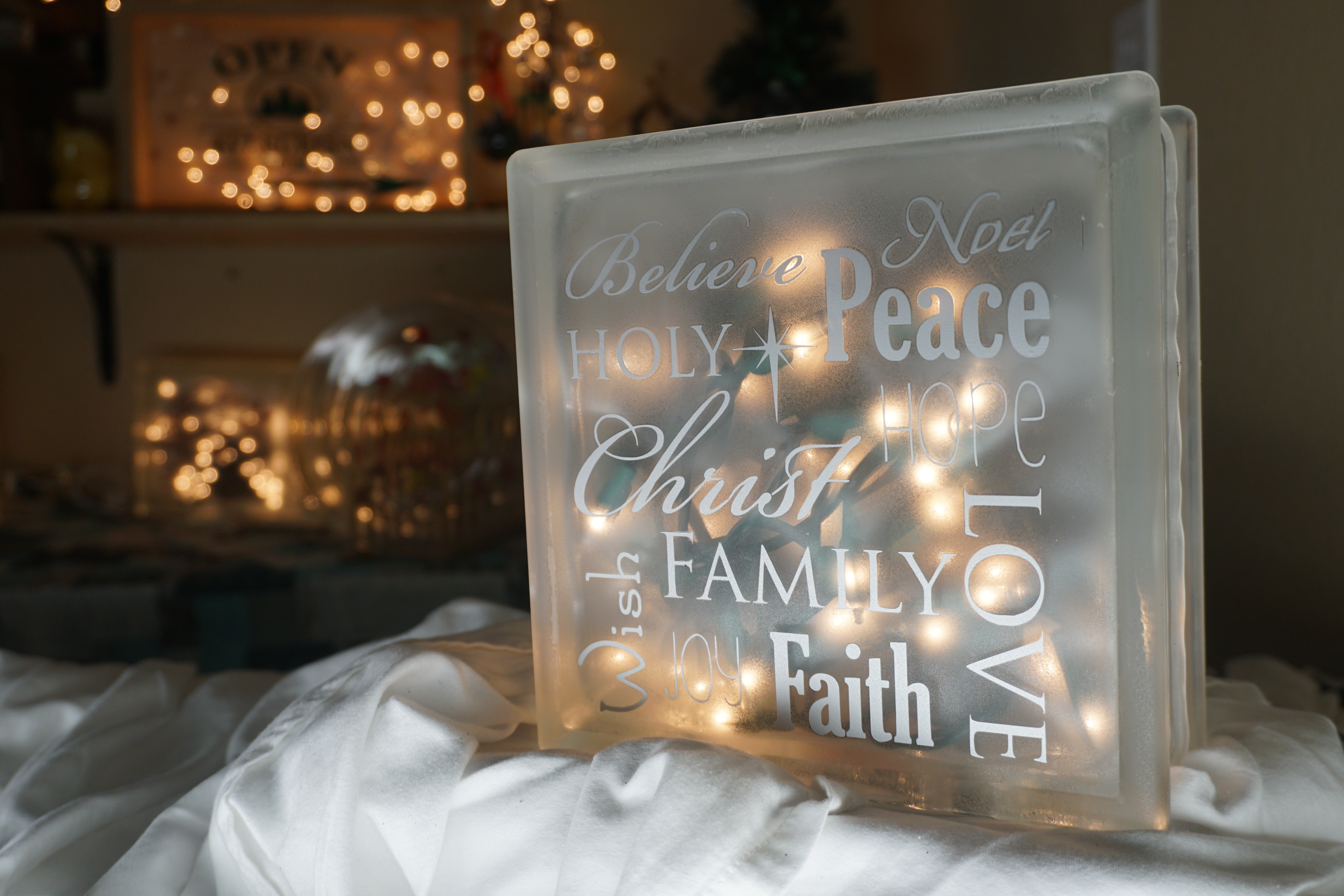 Lighted Glass Block with vinyl lettering and a bow
