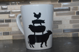 Stacked Farm Animals Silhouette Mug