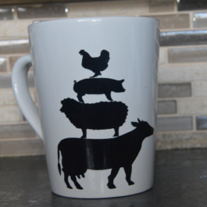 Stacked Farm Animals Silhouette Mug