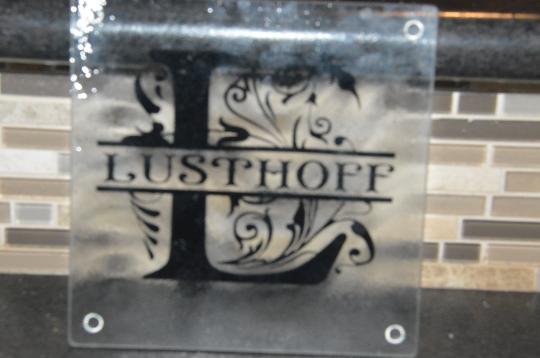 Customized Monogrammed Glass Cutting Board